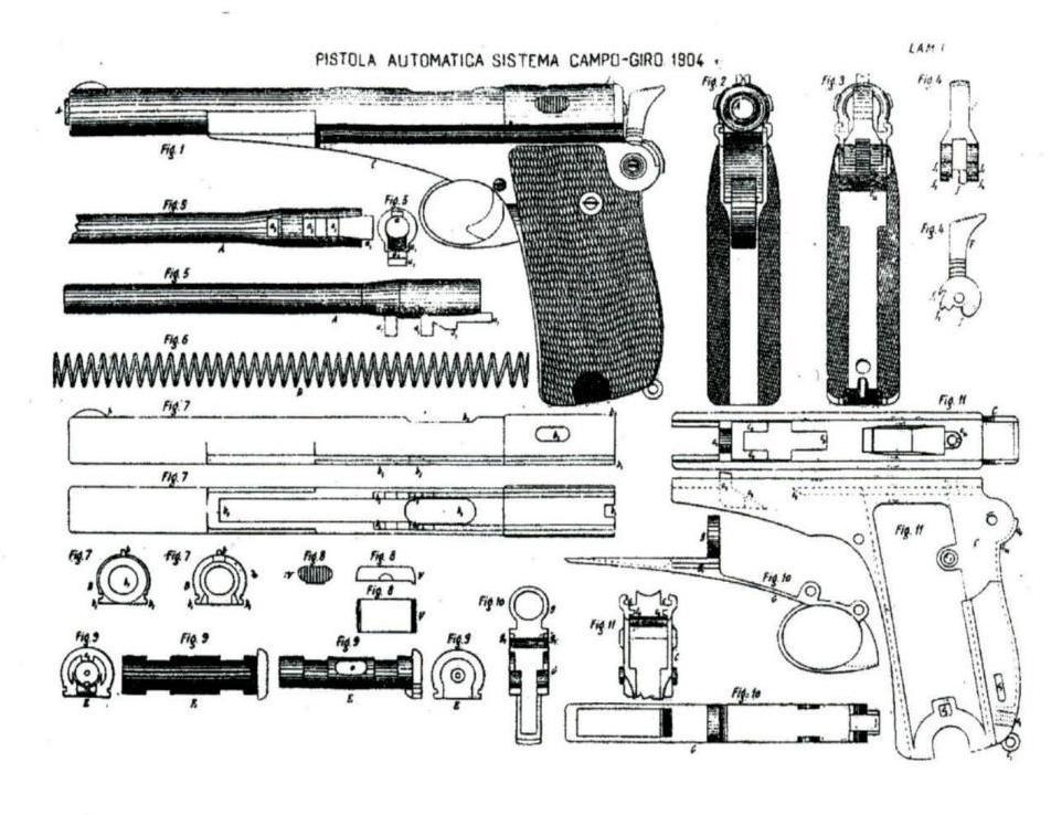 Despiece de la pistola Campo-Giro. (Memorial de Artilleria, 1906). Fuente.