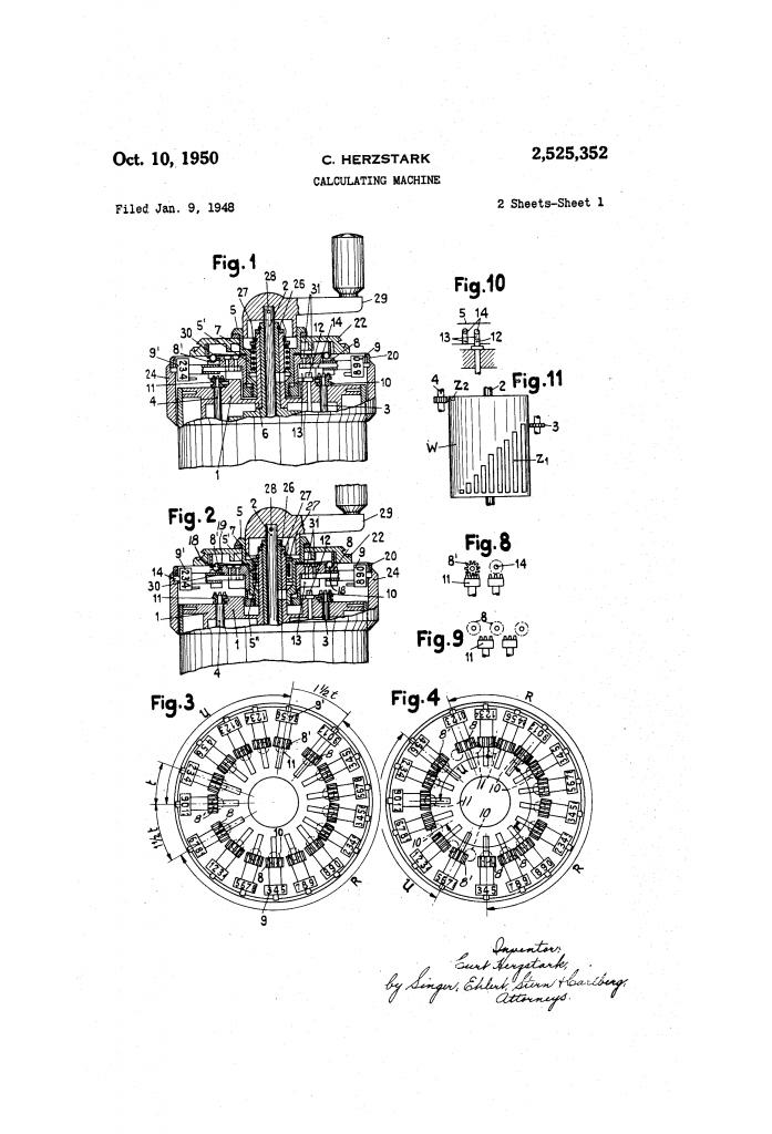 Gráfico de una de las patentes de Herzstark.