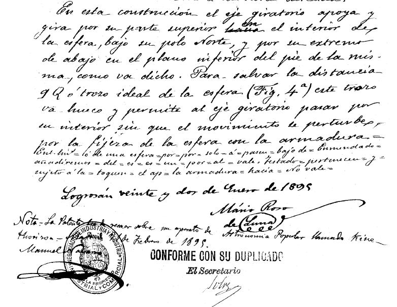 Fragmento de la patente de Roso de Luna