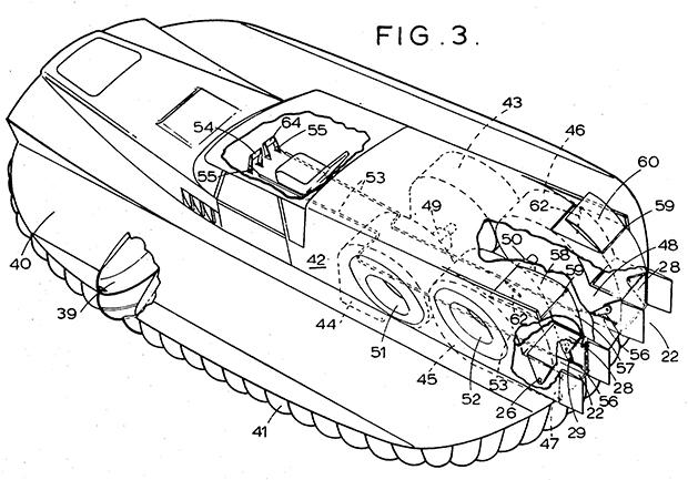 Gráfico de una de las patentes relacionadas con el Cushioncraft, solicitada en 1967. (US 3468394 A).