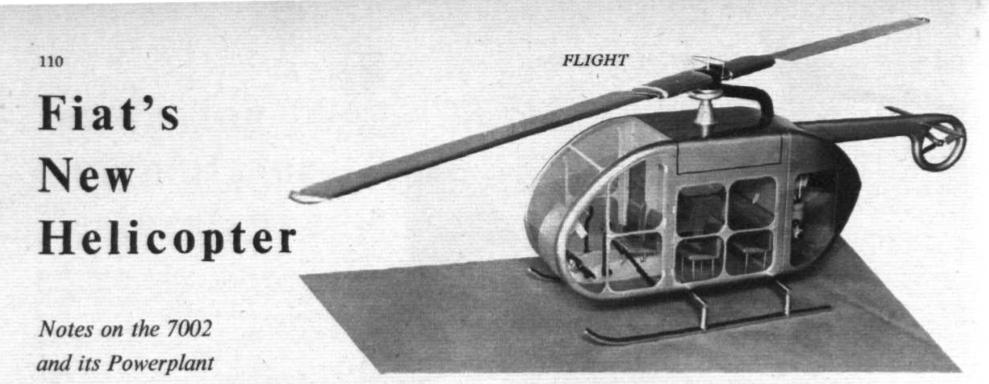 Prototipo de helicóptero urbano que dirigía el flujo de gases de su turbina a lo largo de las palas. (Flight, 1958).